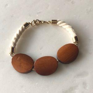 Jewelry - | nwot | Wood + Rope Bracelet